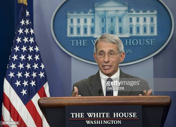 Dr Anthony Fauci Director of NIH/NIAID speaks about the Zika virus during the daily press briefing in the Brady Press Briefing Room at the White...