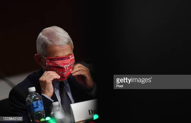 Dr Anthony Fauci director of the National Institute for Allergy and Infectious Diseases adjusts his face mask as he prepares to testify at a hearing...