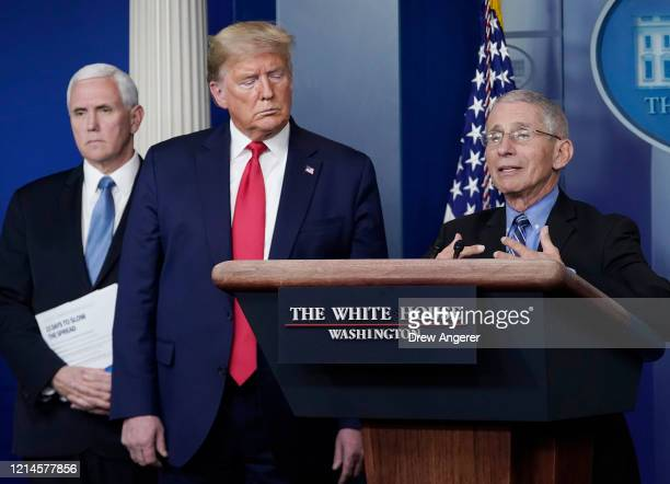 Dr. Anthony Fauci , director of the National Institute of Allergy and Infectious Diseases, speaks while U.S. President Donald Trump and Vice...