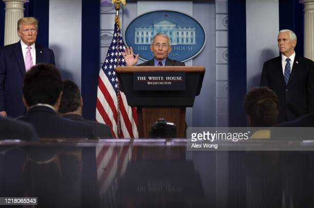 Dr. Anthony Fauci, Director of the National Institute of Allergy and Infectious Diseases speaks as U.S. President Donald Trump and Vice President...