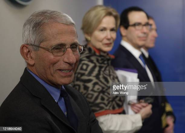 Dr Anthony Fauci director of the National Institute of Allergy and Infectious Diseases participates in the daily briefing of the White House...
