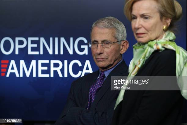 Dr Anthony Fauci director of the National Institute of Allergy and Infectious Diseases and Deborah Brix White House coronavirus response coordinator...