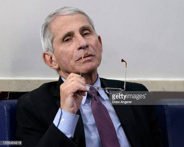 Dr. Anthony Fauci , director of the National Institute of Allergy and Infectious Diseases, participates in the daily coronavirus task force briefing...