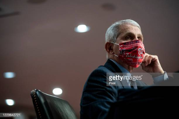 Dr. Anthony Fauci, director of the National Institute of Allergy and Infectious Diseases, wears a face covering as he listens during a Senate Health,...
