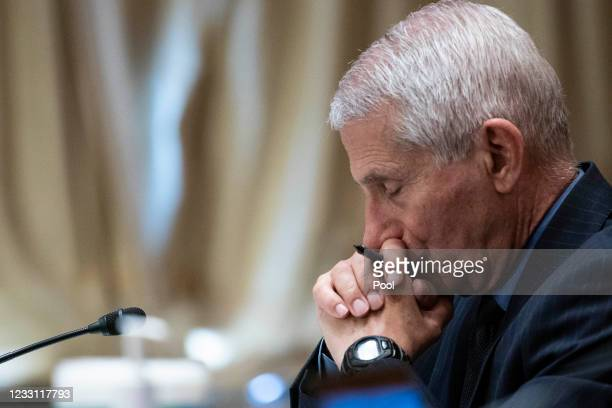 Dr. Anthony Fauci, director of the National Institute of Allergy and Infectious Diseases, listens during a Senate Appropriations Labor, Health and...