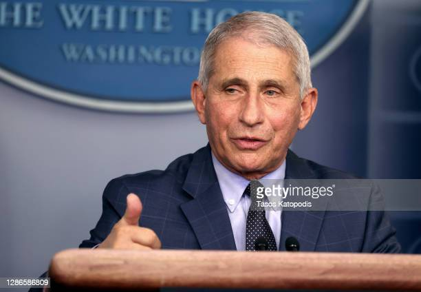Dr. Anthony Fauci, Director of the National Institute of Allergy and Infectious Diseases, speaks during a White House Coronavirus Task Force press...