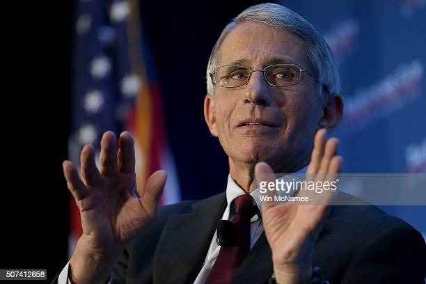 Dr. Anthony Fauci, director of the National Institute of Allergy and Infectious Diseases, discusses the Zika virus during remarks before the Economic...