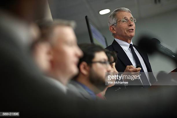 Dr Anthony Fauci Director of the NIH's National Institute of Allergy and Infectious Diseases speaks during a press conference August 11 2016 in...