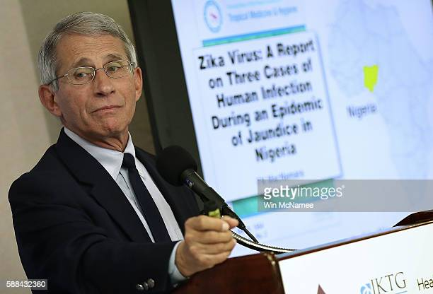 Dr. Anthony Fauci, Director of the NIH's National Institute of Allergy and Infectious Diseases, speaks during a press conference August 11, 2016 in...