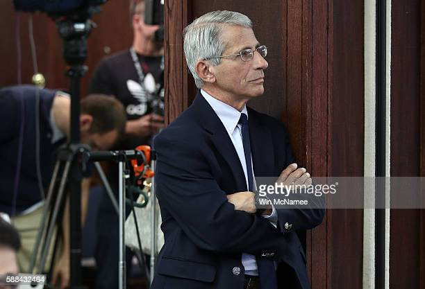 Dr Anthony Fauci Director of the NIH's National Institute of Allergy and Infectious Diseases waits to speak prior to a press conference August 11...