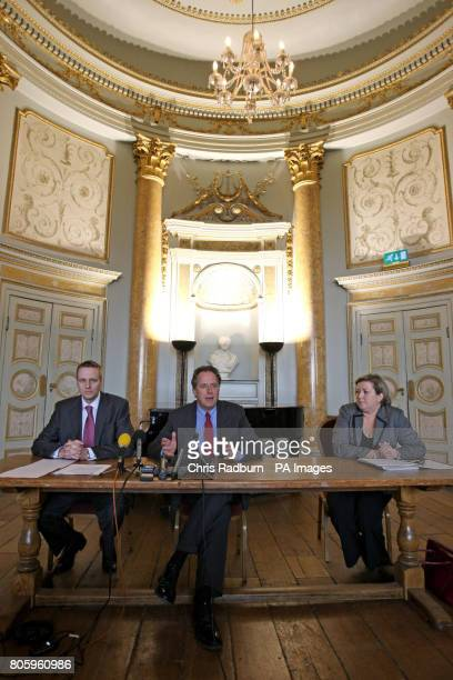 Dr Anthony Wallersteiner Head Teacher of Stowe School speaks at a media conference alongside Chief Inspector Henry Parsons and Media Officer Jane...