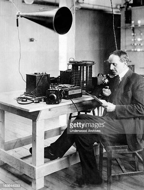 Dr Arthur Andrews is delivering his lecture 'Changes In Europe' via Tufts College radio Medford Massachusetts March 26 1922 Tufts has the first radio...