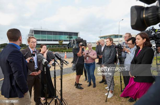 Dr Ashley Bloomfield NZ Director General of Health NZ speaking to media regarding the flight from Wuhan at Auckland International Airport on February...