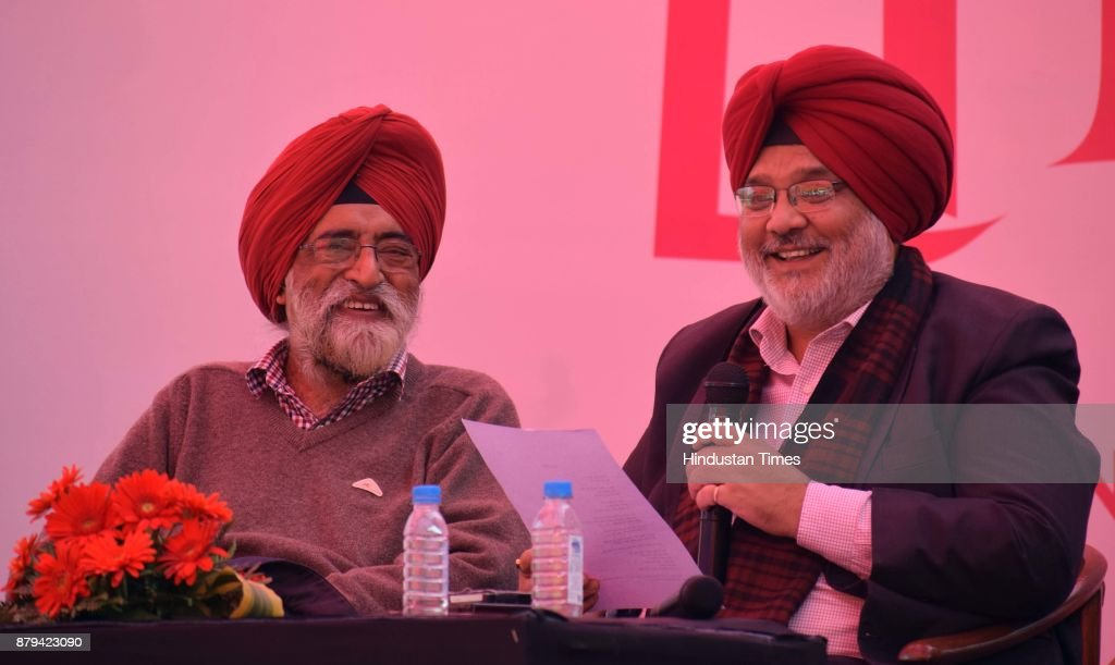 Dr Atamjit and Manmohan Singh during a session at Chandigarh Literati Festival 2017 at Lake Club on November 26 2017 in Chandigarh India