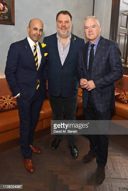Dr Az Hakeem Sir Bryn Terfel and Huw Edwards attend an exclusive breakfast at Bryn Williams At Somerset House to celebrate their 1st anniversary and...