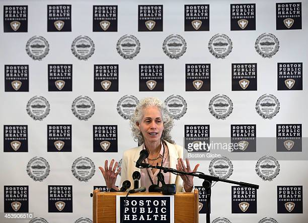 Dr. Barbara Ferrer at the podium, Executive director of Boston Public Health Commission. Boston Health and Medical leaders discuss plans should an...