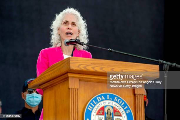 Dr. Barbara Ferrer, director of the L.A. County Department of Public Health during a press conference at the Music Center Plaza in Los Angeles to...