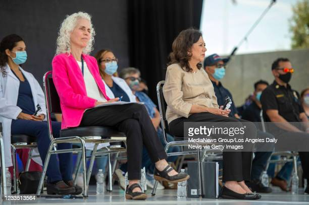 Dr. Barbara Ferrer, director of the L.A. County Department of Public Health, left, and Los Angeles County Supervisor Hilda Solis during a press...