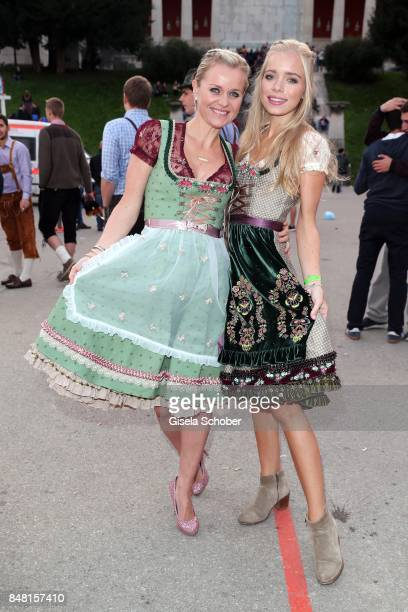 Dr Barbara Sturm and her daughter Charly Sturm wearing a dirndl by Lola Paltinger during the opening of the Oktoberfest 2017 at Theresienwiese on...