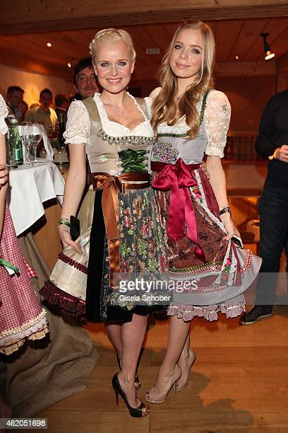 Dr. Barbara Sturm and her daughter Charly Sturm wearing a Dirndl of Lola Paltinger during the Weisswurstparty at Hotel Stanglwirt on January 23, 2015...