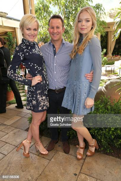 Dr. Barbara Sturm and her husband Adam Waldman and her daughter Charly Sturm during the Net-A-Porter lunch at hotel Chateau Marmont on February 24,...