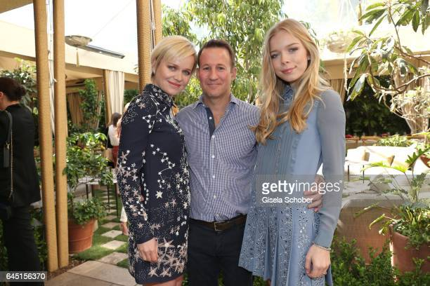 Dr Barbara Sturm and her husband Adam Waldman and her daughter Charly Sturm during the NetAPorter lunch at hotel Chateau Marmont on February 24 2017...