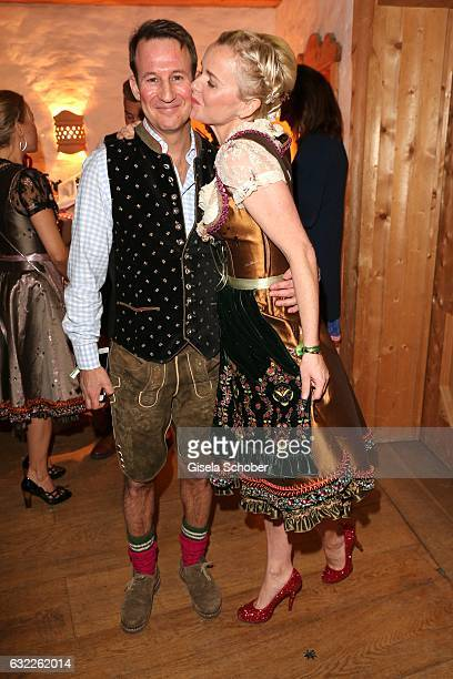 Dr Barbara Sturm and her husband Adam Waldman during the Weisswurstparty at Hotel Stanglwirt on January 20 2017 in Going near Kitzbuehel Austria