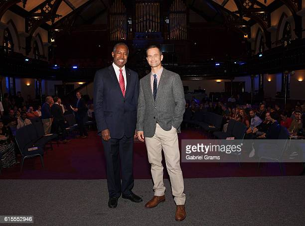"""Dr Ben Carson and Kirk Cameron attend Kirk Cameron's """" Revive Us"""" event at Harvest Cathedral on October 18, 2016 in Chicago City."""