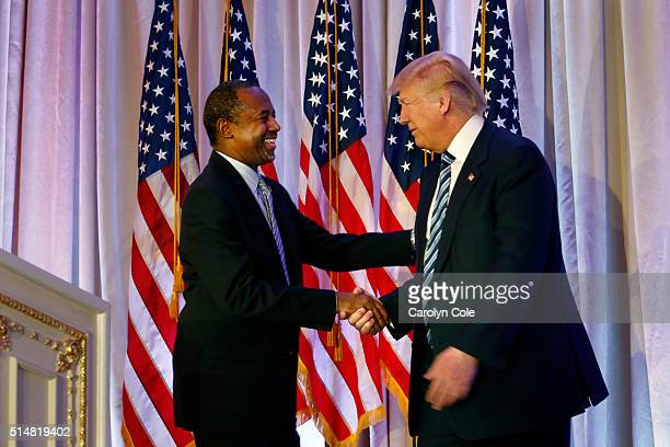 Dr Ben Carson endorses Republican presidential candidate Donald Trump at MaraLago Trumps resort in Palm Beach Florida on March 11 2016