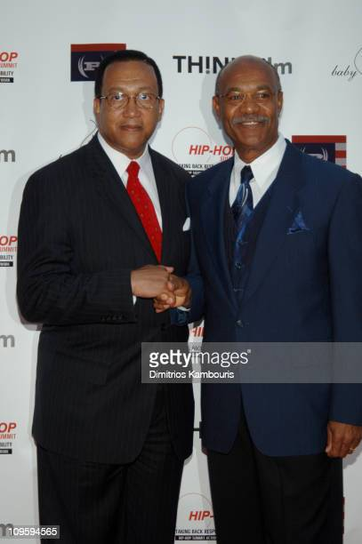Dr Benjamin Chavis and Simeon Wright during The Untold Story of Emmett Louis Till New York City Premiere at Dag Hammarskjolm Auditorium in New York...