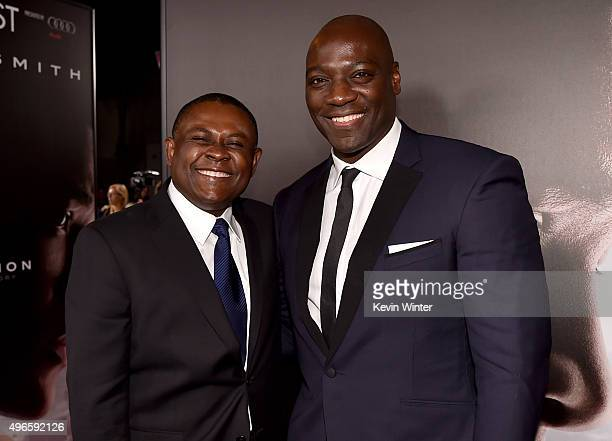 Dr Bennet Omalu and actor Adewale AkinnuoyeAgbaje attend the Centerpiece Gala Premiere of Columbia Pictures' Concussion during AFI FEST 2015...