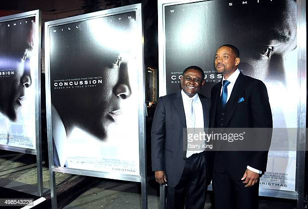 Dr Bennet Omalu and actor Will Smith attend Screening of Columbia Pictures' 'Concussion' at the Regency Village Theatre on November 23 2015 in...