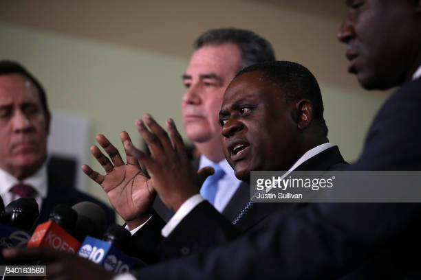 Dr Bennet Omalu discusses results of his autopsy of Stephon Clark during a news conference at the Southside Christian Center on March 30 2018 in...