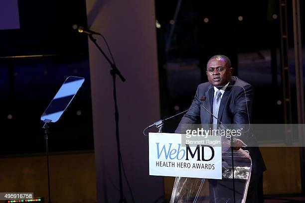 Dr Bennet Omalu speaks on stage during the 2015 Health Hero Awards hosted by WebMD on November 5 2015 in New York City