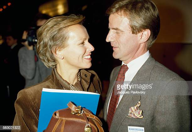 Dr Bernard Kouchner with his wife journalist Christine Ockrent during the symposium Law and Humanitarian Morals in Paris France