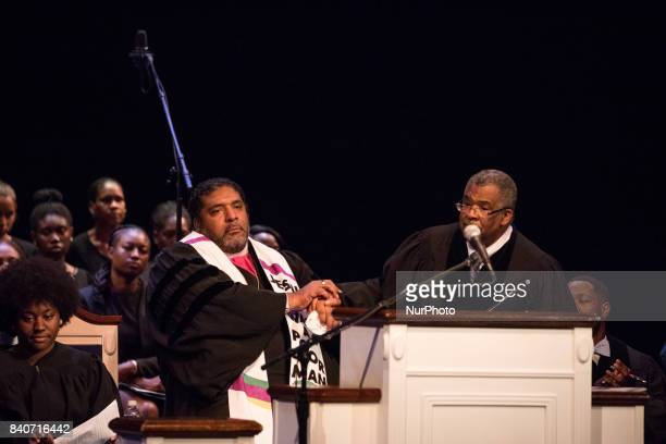 Dr Bernard L Richardson Howard University Dean of the Chapel introduces guest preacher Bishop William J Barber II Pastor Greenleaf Christian Church...