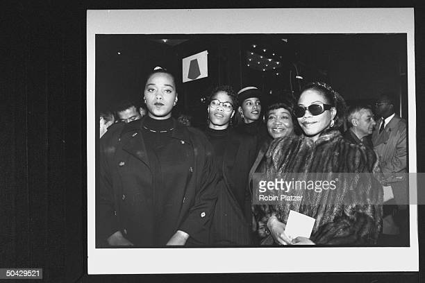 Dr Betty Shabazz widow of the late Malcolm X with her daughters Malaak Malikah Ilyasah Qubilah at theater for the screening of the Spike...