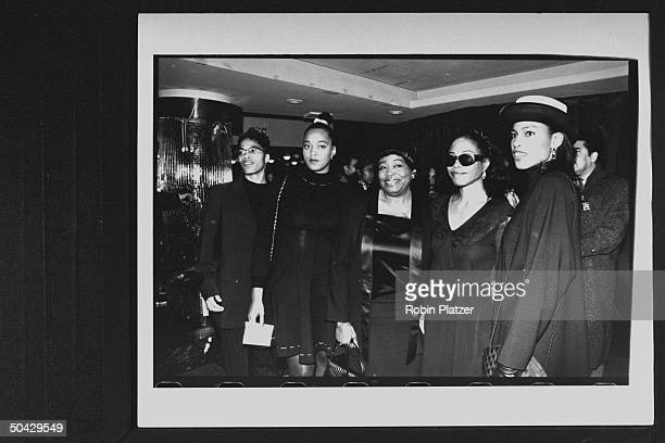 Dr Betty Shabazz widow of the late Malcolm X with her daughters Malikah Malaak Qubilah Ilyasah at theater for the screening of the Spike Leedirected...