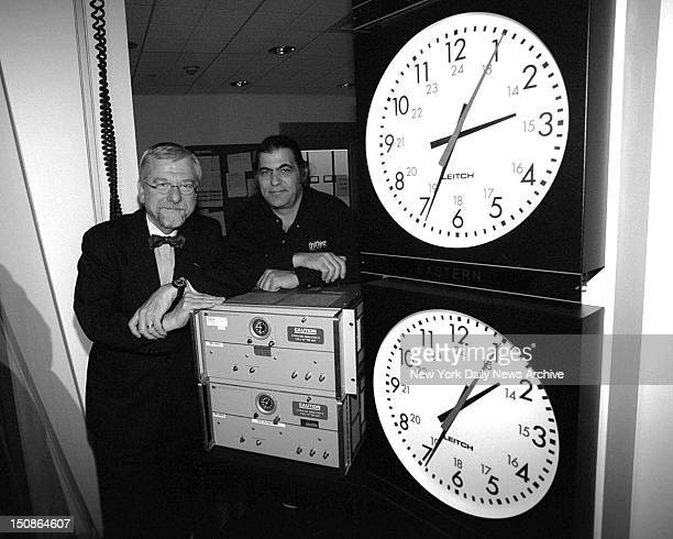 Dr Bill Baker and Eric Spiegel in front of the two atomic Clocks at the Channel Thirteen at 450 West 33 Street Pat Carroll Pat/NY Daily News via...