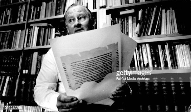 Dr Bill Jubling Readeria Religious Studies Uni of Sydney with Copies of Dead Sea Scrolls Isaisbs Scroll dating between 202BC 107BCDr Bill Jobling...