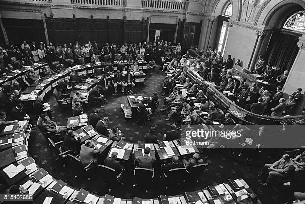 Dr Billy Graham standing right center delivered the opening prayer at the 2/8 session of the New York State Senate Several hundred state workers and...