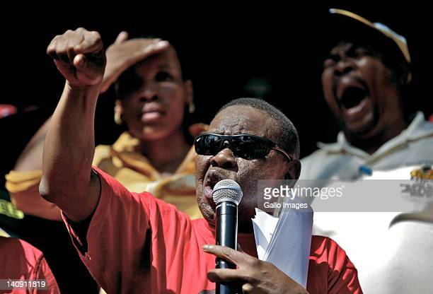Dr Blade Nzimande of SACP addresses members of COSATU and other trade unions during a protest march on March 7 2012 in Durban South Africa The unions...