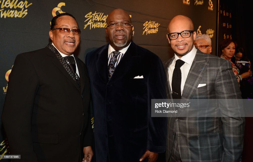 Dr. Bobby Jones, Bishop T.D. Jakes, and James Fortune arrive at the 28th Annual Stellar Awards Red Carpet at Grand Ole Opry House on January 19, 2013 in Nashville, Tennessee.