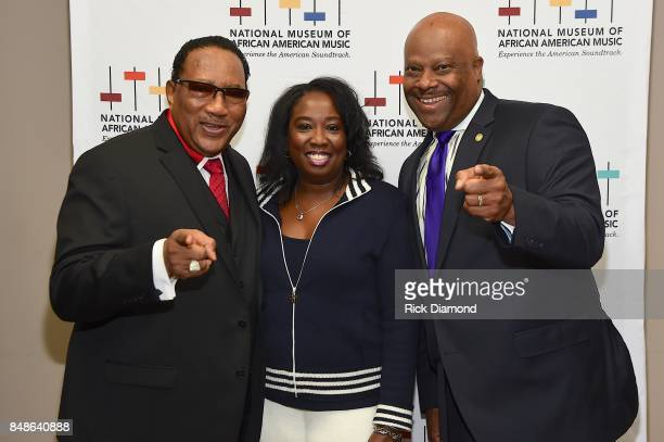 Dr Bobby Jones President and CEO NMAAM H Beecher Hicks III and Development Director NMAAM Lolita Toney arrive at an Evening with Richard Smallwood...