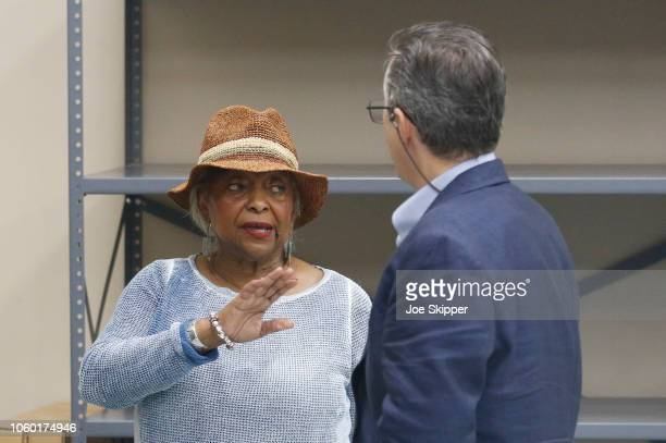 Dr. Brenda Snipes, Broward County Supervisor of Elections, speaks with a party observer prior to the start of a recount of all votes at the Broward...