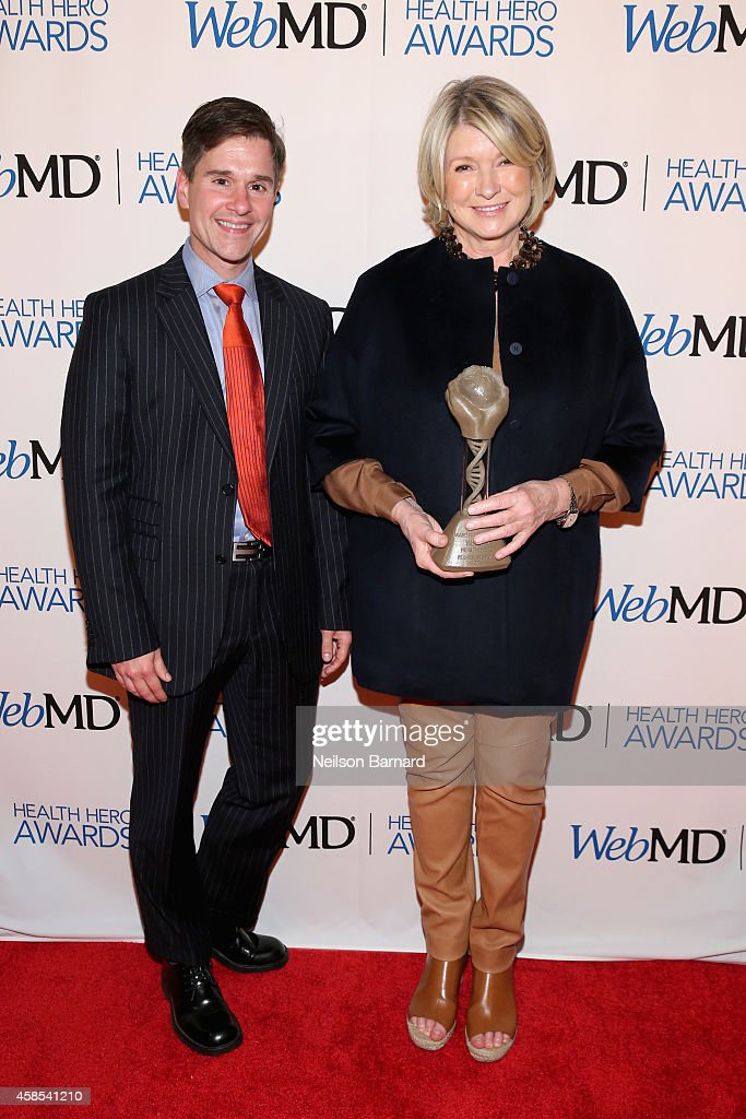 Dr. Brent Ridge and Martha Stewart pose with an award backstage at the 2014 Health Hero Awards hosted by WebMD at Times Center on November 6, 2014 in New York City.