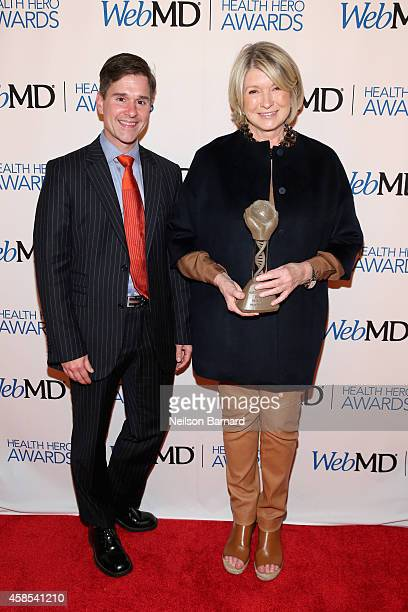 Dr Brent Ridge and Martha Stewart pose with an award backstage at the 2014 Health Hero Awards hosted by WebMD at Times Center on November 6 2014 in...