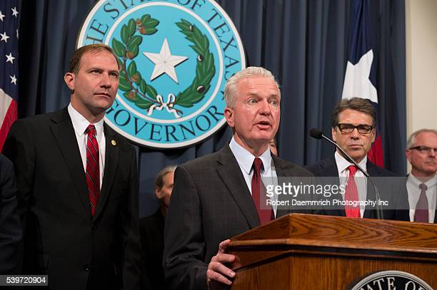 Dr Brett Giroir speaks as Texas Gov Rick Perry announces the creation of a Texas Task Force on Infectious Disease Preparedness and Response in...