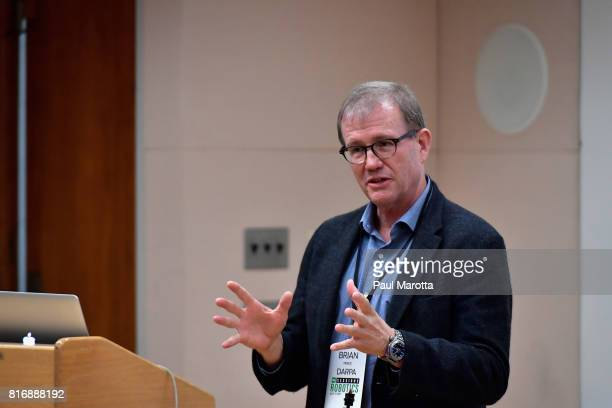 Dr Brian Pierce and Dr John Main of DARPA give a workshop at the TechCrunch Sessions Robotics at Kresge Auditorium on July 17 2017 in Cambridge...