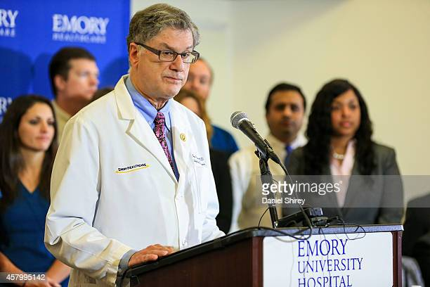 Dr Bruce Ribner an epidemiologist and professor in the School of Medicine's Infectious Diseases Division speaks to the media during a press...